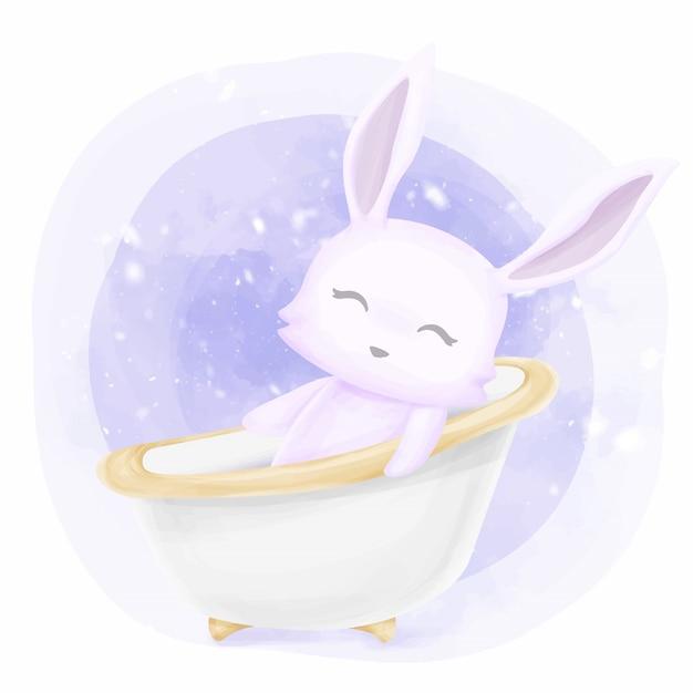 Coniglio sveglio del bambino che cattura un bagno Vettore Premium