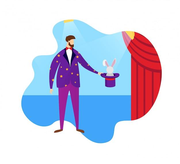 Conjurer che mostra trucco magico top hat and rabbit. Vettore Premium