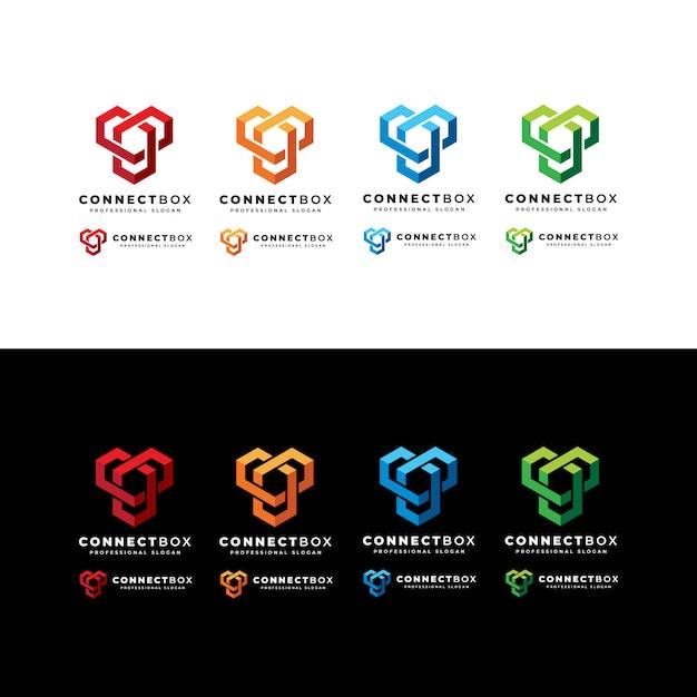 Connect box logo Vettore Premium