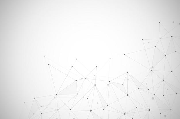 Connessione di rete astratta di punti e linee di fondo Vettore Premium