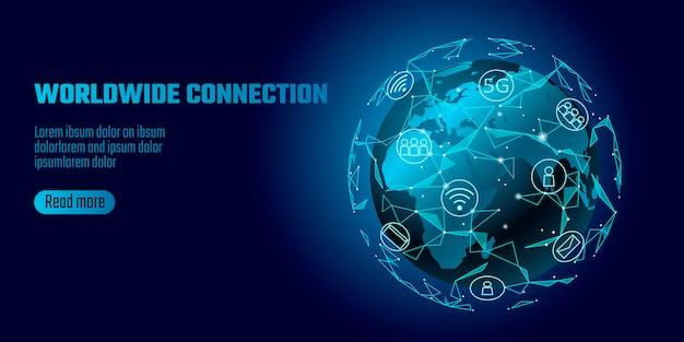 Connessione di rete globale. mappa del mondo europa continente continente punto di riferimento in tutto il mondo. Vettore Premium