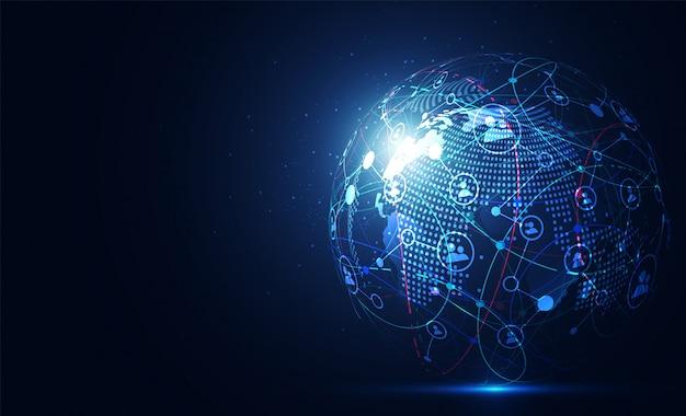 Connessione di rete globale punto della mappa del mondo Vettore Premium