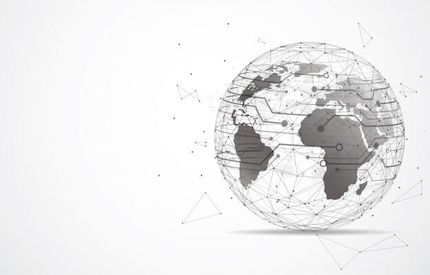 Connessione di rete globale punto e linea della mappa del mondo Vettore Premium