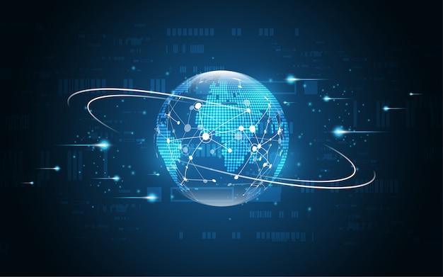 Connessione di rete globale sfondo di tecnologia astratta mappa mondo Vettore Premium