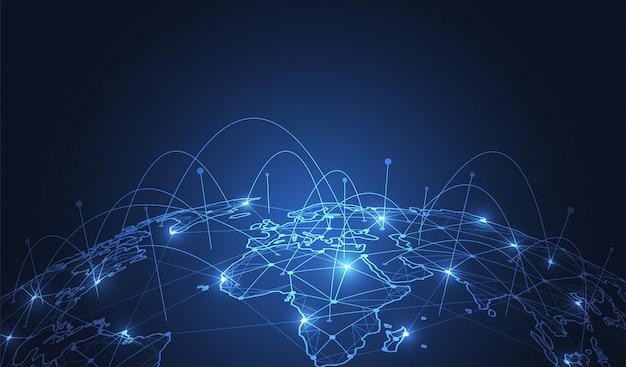 Connessione di rete globale. Vettore Premium