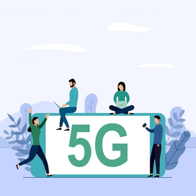 Connessione wifi sistema wireless di rete 5g, internet mobile ad alta velocità. utilizzando moderni dispositivi digitali, illustrazione di affari Vettore Premium