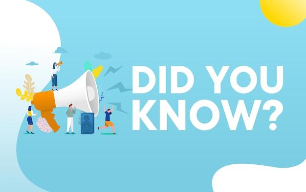Conoscevi il concetto dell'illustrazione di parola, la gente con il megafono grida sul megafono e fornisce informazioni, aletta di filatoio Vettore Premium