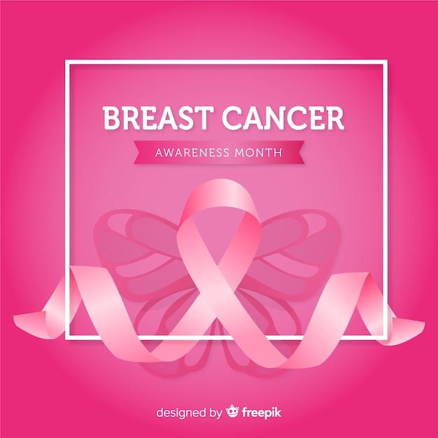 Consapevolezza del cancro al seno con nastri rosa Vettore gratuito