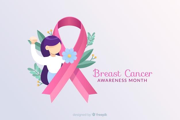 Consapevolezza del cancro al seno con nastro e illustrazione Vettore gratuito