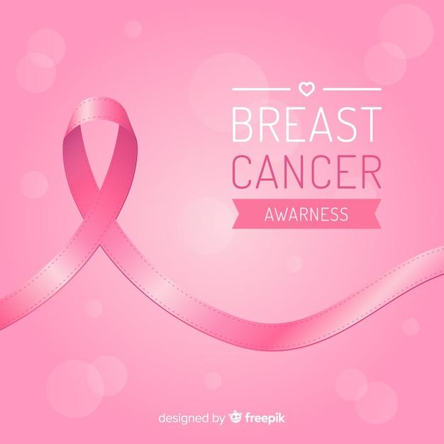 Consapevolezza del cancro al seno con nastro in design piatto Vettore gratuito