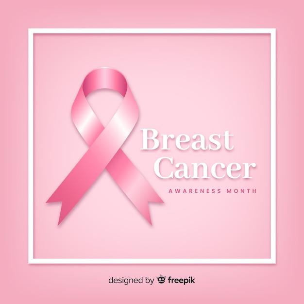 Consapevolezza del cancro al seno con nastro realistico Vettore gratuito