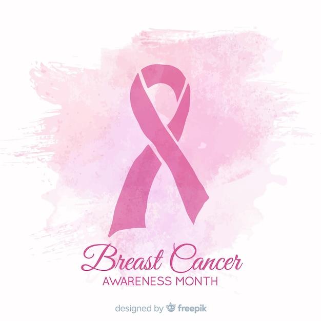Consapevolezza del cancro al seno design acquerello con nastro Vettore gratuito