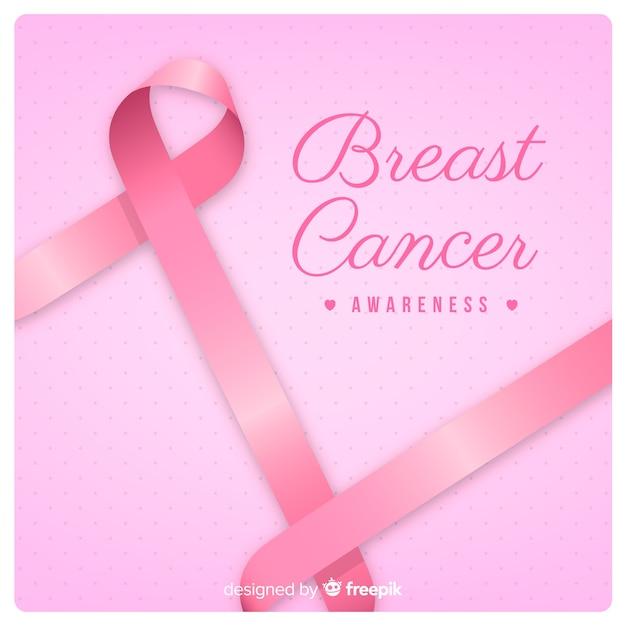 Consapevolezza del cancro al seno e nastro rosa Vettore gratuito