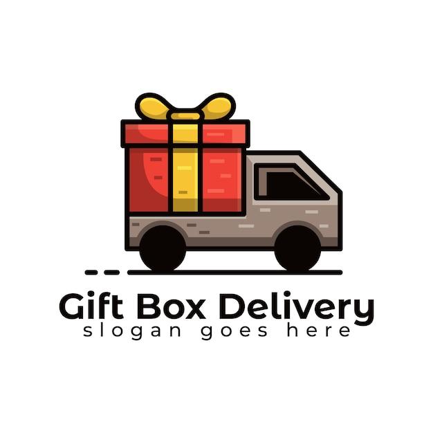 Consegna del camion scatola regalo o modello logistico logo Vettore Premium
