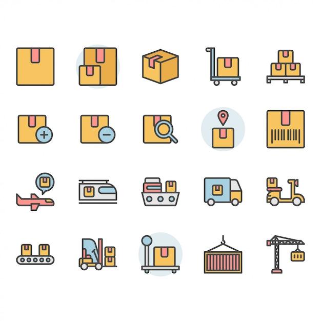 Consegna del pacchetto e set di icone e simboli relativi alla logistica Vettore Premium