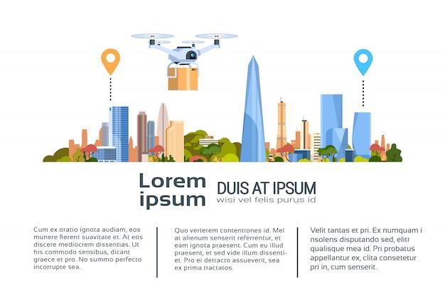 Consegna drone con pacchetto sulla città. banner modello concetto di trasporto aereo veloce Vettore Premium