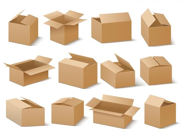 Consegna e spedizione del pacchetto di cartone. insieme di vettore di scatole di cartone marrone Vettore Premium