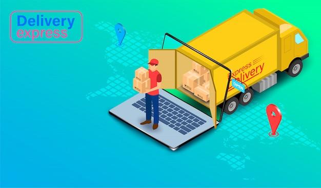 Consegna espressa dalla persona di consegna pacchi con camion sul computer portatile con gps. ordine e pacchetto alimentari online nel commercio elettronico dal sito web globale. design piatto isometrico. Vettore Premium