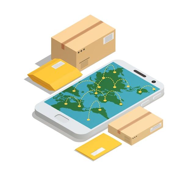 Consegna postale in tutto il mondo isometrica Vettore gratuito