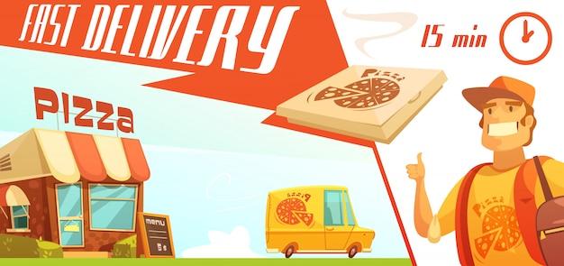 Consegna veloce del concetto di design della pizza con il minibus giallo del corriere della pizzeria Vettore gratuito