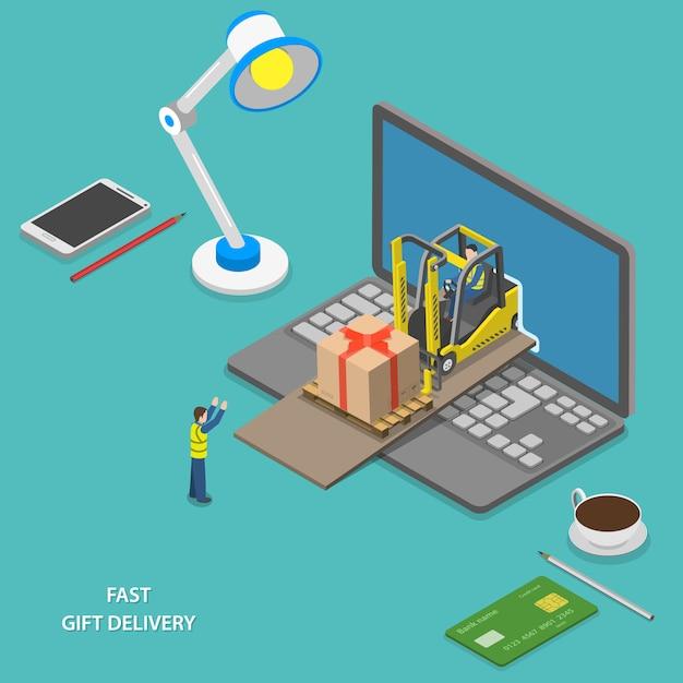 Consegna veloce regalo isometrica Vettore Premium