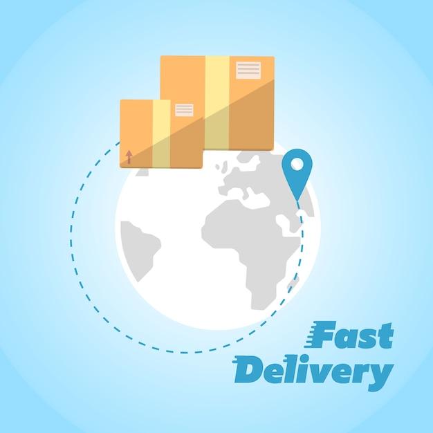 Consegna veloce, simbolo di scatole di cartone Vettore Premium