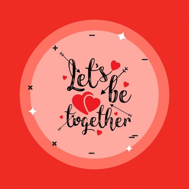 Consente di essere insieme con sfondo rosso Vettore gratuito