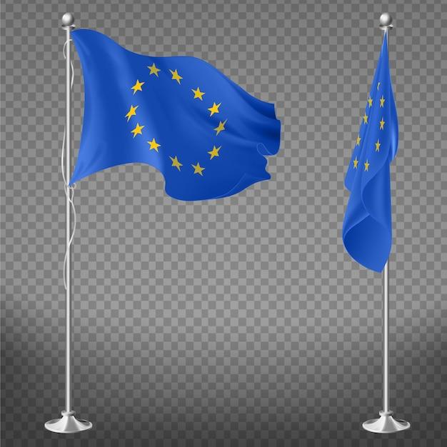 Consiglio d'europa, unione europea o commissione bandiera sdraiata, svolazzante sul flagpole vettori realistici 3d isolati su trasparente. organizzazione internazionale, simbolo ufficiale dell'istituto Vettore gratuito