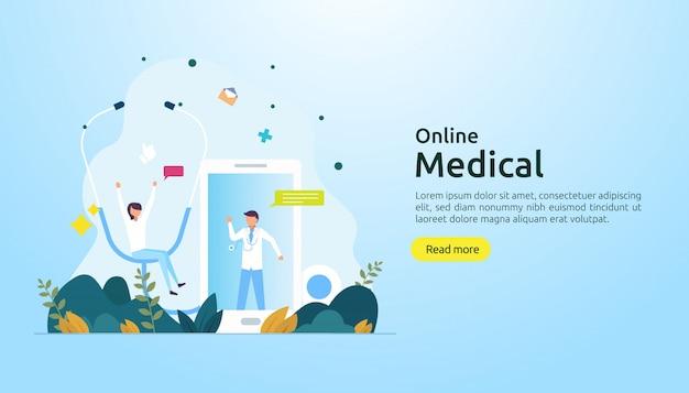 Consiglio di supporto medico online o concetto di servizio di assistenza sanitaria medico con carattere di persone Vettore Premium
