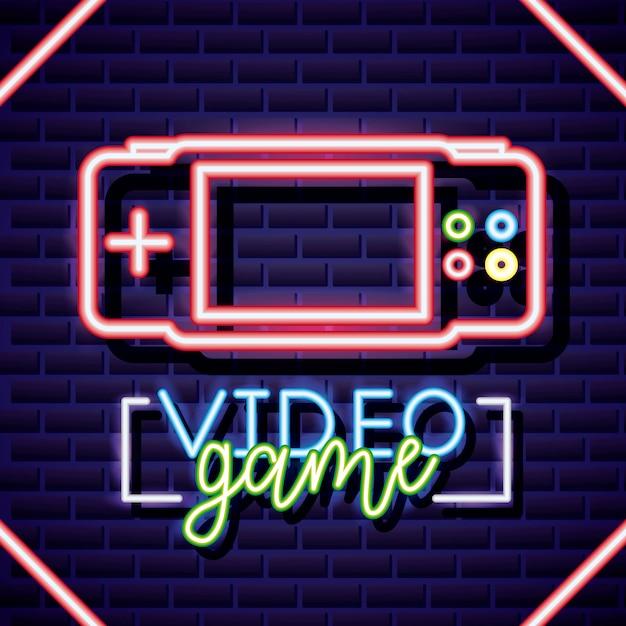Console personale, videogioco neon stile lineare Vettore gratuito