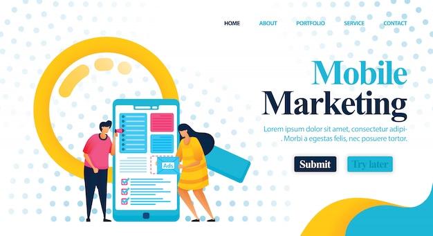Consulenza di marketing mobile per trovare parole chiave migliori. Vettore Premium