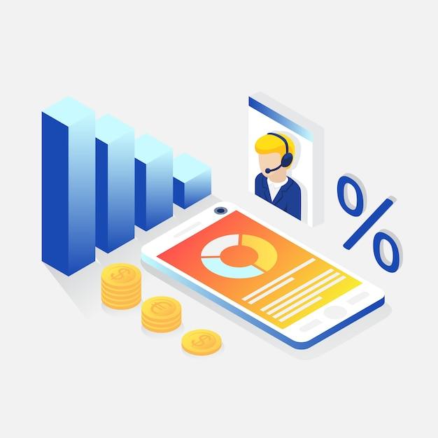 Consulenza finanziaria isometrica Vettore gratuito