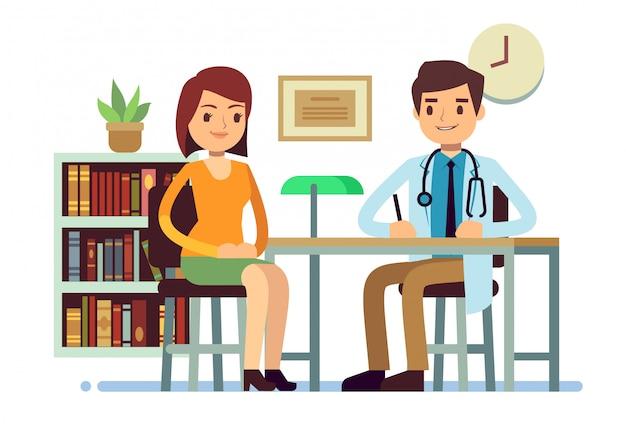 Consultazione medica con il concetto piano della medicina di vettore paziente di medico della giovane donna e di medico Vettore Premium