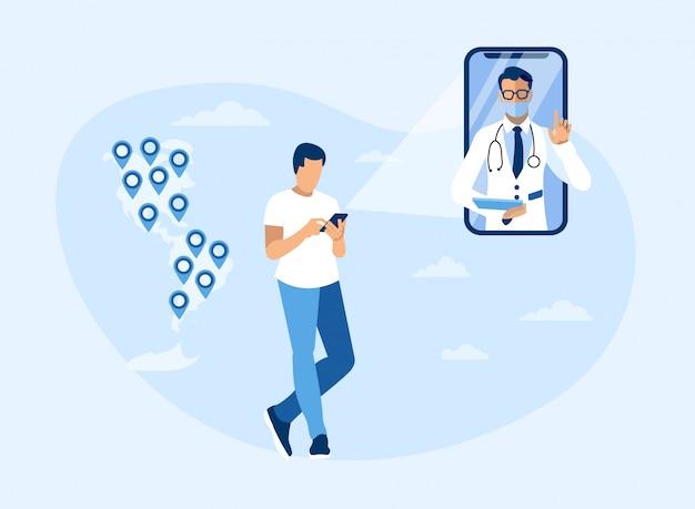 Consultazione medica online in tutte le americhe Vettore Premium