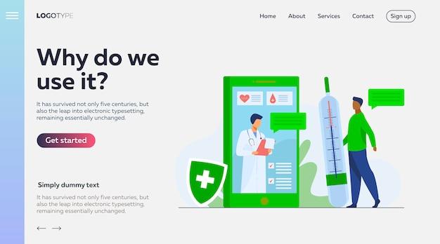 Consultazione medica online tramite modello di pagina di destinazione per smartphone Vettore gratuito