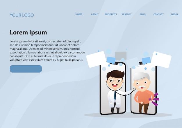 Consultazione medica su internet. supporto ospedaliero online Vettore Premium