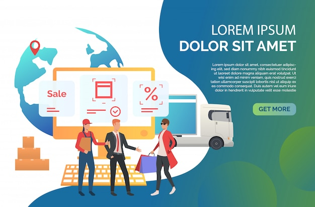 Consumer ordering goods in internet store Vettore gratuito