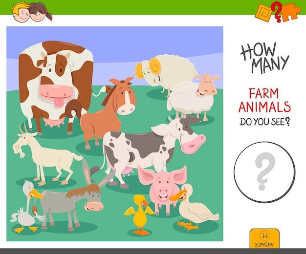 Conta gioco di animali da fattoria Vettore Premium