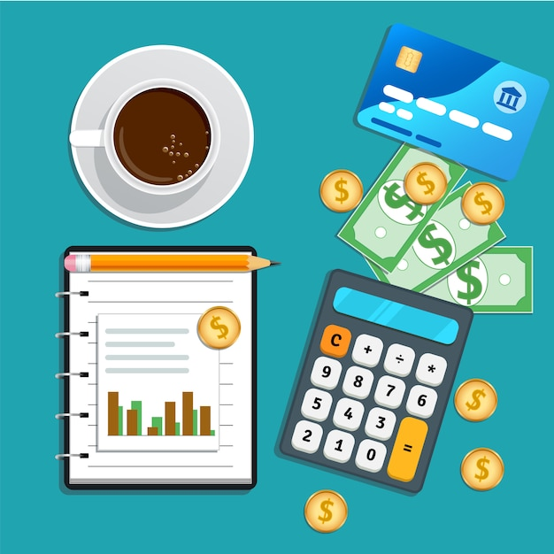 Contabilità, controllo finanziario, gestione dei rischi, analisi dei dati, ricerche di mercato con calcolatrice Vettore Premium