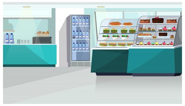 Contatore dell'alimento nell'illustrazione del deposito della confetteria Vettore gratuito