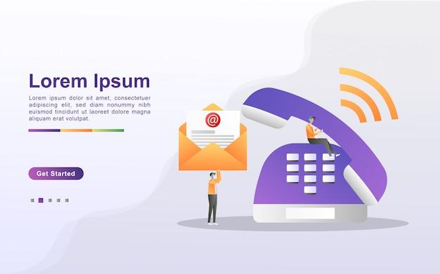 Contattaci concept. assistenza clienti 24 ore su 24, 7 giorni su 7, supporto online, help desk. Vettore Premium