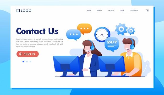 Contattaci illustrazione del sito web della pagina di destinazione Vettore Premium