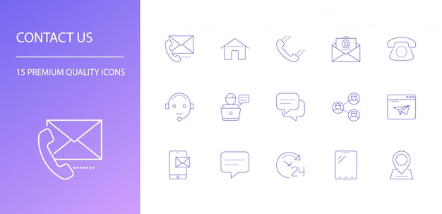 Contattaci set di icone di linea. Vettore Premium