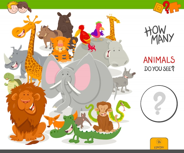 Conteggio del gioco per bambini con animali selvaggi Vettore Premium