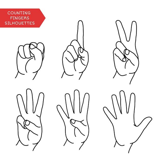 Conteggio delle mani che mostrano un numero diverso di dita Vettore Premium