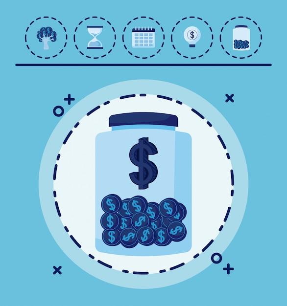 Contenitore con monete e set di icone economia finanza Vettore Premium
