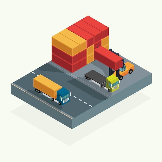 Contenitore del camion e del trasporto di logistica del carico con il contenitore di carico di sollevamento del carrello elevatore a forcale nell'iarda di spedizione. illustrazione vettoriale isometrica Vettore Premium