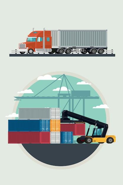 Contenitore del camion e del trasporto di logistica del carico con il contenitore di carico di sollevamento del carrello elevatore a forcale nell'iarda di spedizione. illustrazione vettoriale Vettore Premium