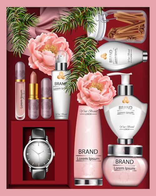Contenitore di regalo di cosmetici vettore realistico. bottiglie di rossetto, crema o lozione. vista dall'alto floreale de Vettore Premium