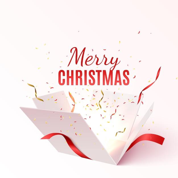 Contenitore di regalo di vettore con nastro rosso e fiocco. banner di buon natale e felice anno nuovo Vettore Premium